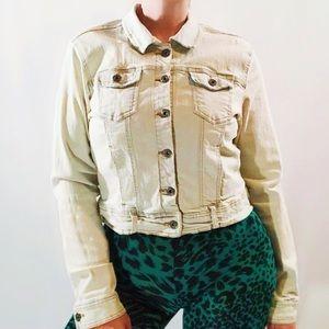 Vintage 90s Blue Crush off white denim jean jacket
